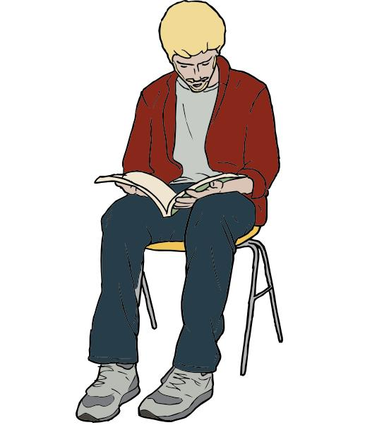 Here's a completely unrelated picture man just sitting there, reading totally non-pornographic material