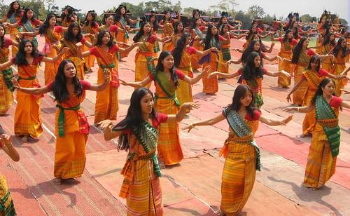 Bodoland India Women Girls Dancing Ceremonial