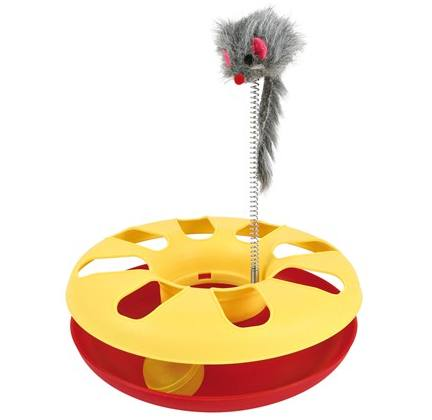 Crazy Circle With Fur Mouse Yellow Red Cat Toy
