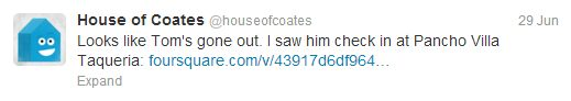 House Of Coates - Tom is out