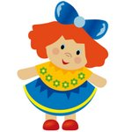 Red Head Doll With Blue Bow