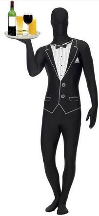 Black Faceless Waiter Costume Small