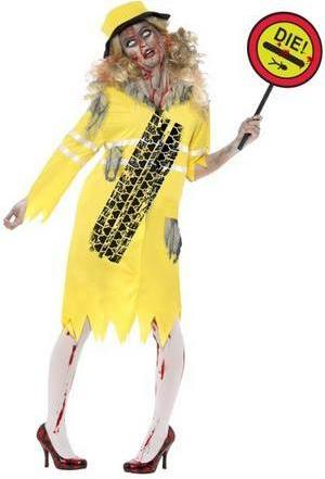 Zombie Traffic Lady In Yellow Costume