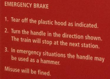 Emergency Brake Instructions