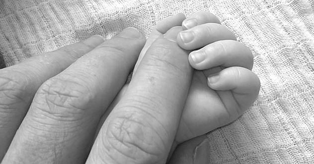Baby father hands