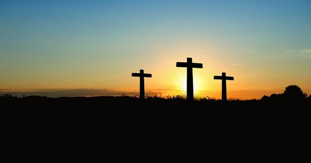 Crosses Sunset Silhouette