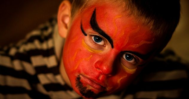 Antichrist signs: Devil Face Paint Boy