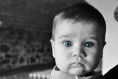 Antichrist signs: Baby huge blue eyes black and white