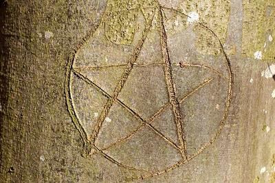 Antichrist signs: Pentagram carved in a tree
