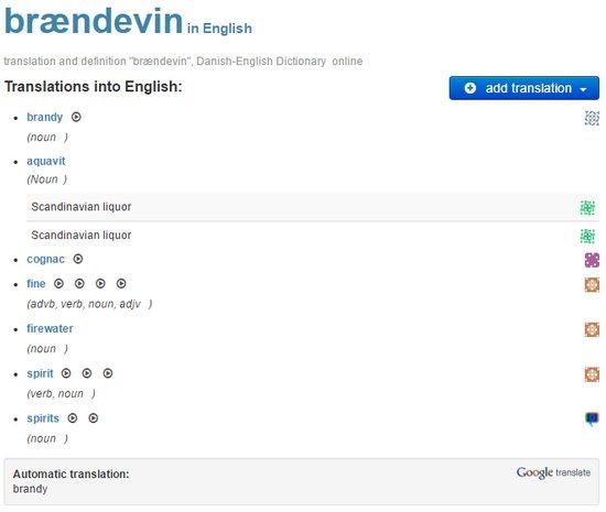 Brændevin translation from Danish to English results