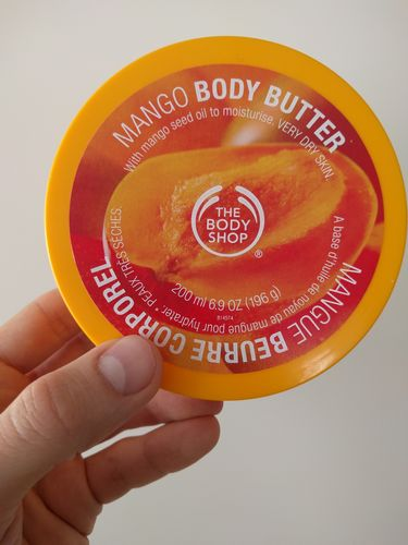 Mango body butter yellow box from Body Shop